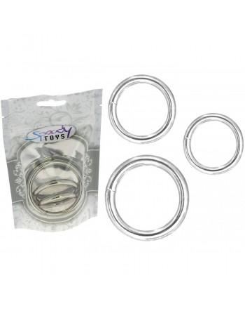 Pack 3 anneaux en métal Ø interne 3,3 mn - 4 mn - 5,3 mn